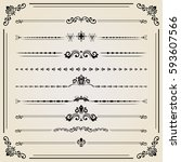 vintage set of vector... | Shutterstock .eps vector #593607566