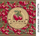 vintage cherry label on... | Shutterstock .eps vector #593616776