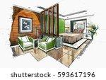interior perspective sketch... | Shutterstock . vector #593617196