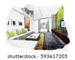 interior perspective sketch... | Shutterstock . vector #593617205