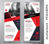 business roll up. standee... | Shutterstock .eps vector #593618096