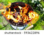 hot grill on fire  time for... | Shutterstock . vector #593622896