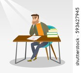 caucasian student disappointed... | Shutterstock .eps vector #593627945