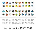 set of icons in different style ... | Shutterstock .eps vector #593628542