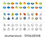 set of icons in different style ... | Shutterstock .eps vector #593628548