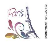 hand drawn eiffel tower. paris  ... | Shutterstock .eps vector #593629412