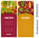 fresh vegetable farming flyers... | Shutterstock .eps vector #593653322