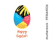 happy easter greeting card.... | Shutterstock .eps vector #593664026