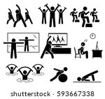 aerobic class at gym room with... | Shutterstock .eps vector #593667338