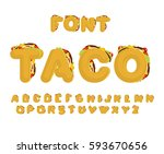 taco font. mexican fast food... | Shutterstock .eps vector #593670656