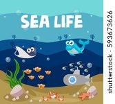 ocean life  marine poster  sea... | Shutterstock .eps vector #593673626