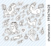 set of magic stickers with... | Shutterstock .eps vector #593674628
