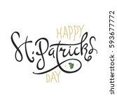 happy saint patrick's day... | Shutterstock .eps vector #593677772