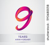 nine years anniversary... | Shutterstock .eps vector #593680058