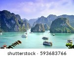 Small photo of Karst landforms in the sea, the world natural heritage - halong bay