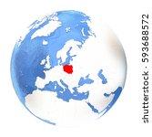 map of poland on elegant...   Shutterstock . vector #593688572