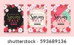 Set Of Spring Sale Background...