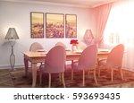 interior dining area. 3d... | Shutterstock . vector #593693435