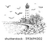 landscape lighthouse. sea and... | Shutterstock .eps vector #593694302