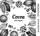 vector frame with cocoa. hand...   Shutterstock .eps vector #593698388