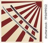 samurai sword | Shutterstock .eps vector #593699012