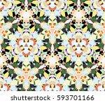 kaleidoscope seamless pattern.... | Shutterstock .eps vector #593701166