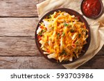 spicy fast food  french fries... | Shutterstock . vector #593703986