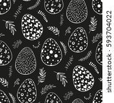 seamless pattern with hand... | Shutterstock .eps vector #593704022