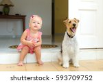 toddler and dog. the little... | Shutterstock . vector #593709752