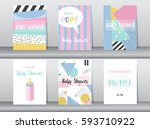 set of baby shower card on... | Shutterstock .eps vector #593710922