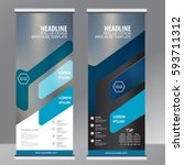 blue roll up business brochure... | Shutterstock .eps vector #593711312
