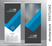 blue roll up business brochure... | Shutterstock .eps vector #593711342