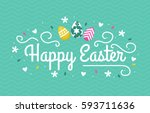 happy easter lettering | Shutterstock .eps vector #593711636