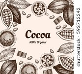vector frame with cocoa. hand... | Shutterstock .eps vector #593712242