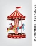 Realistic Vintage Carousel Wit...