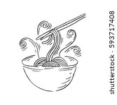 sketchy noodle in doodle style | Shutterstock .eps vector #593717408
