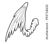bird wing icon. outline... | Shutterstock . vector #593718632