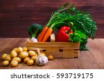 vegetables. potatoes  carrot... | Shutterstock . vector #593719175