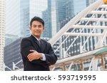 portrait of business man... | Shutterstock . vector #593719595