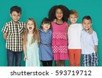 group children friendship happy ... | Shutterstock . vector #593719712