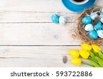 easter background with blue and ... | Shutterstock . vector #593722886