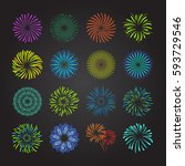 color celebration fireworks set ... | Shutterstock .eps vector #593729546