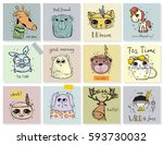 set of vector kid's cards with... | Shutterstock .eps vector #593730032