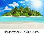 Small photo of Whole tropical island within atoll in Indian Ocean. Uninhabited and wild subtropical isle with palm trees. Blank sand on a tropical island.