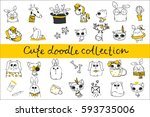 cute doodle collection. simple... | Shutterstock .eps vector #593735006