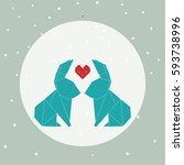 origami rabbit  vector  | Shutterstock .eps vector #593738996