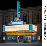 Exterior night shot of a retro illuminated neon movie theater - stock photo