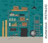 garage interior with metal... | Shutterstock . vector #593746142