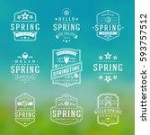 spring typographic badges... | Shutterstock .eps vector #593757512