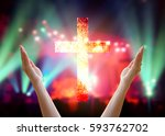 woman hands raised up with... | Shutterstock . vector #593762702